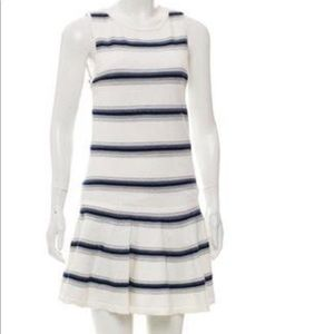 Alice+Olivia white  dress with blue stripes